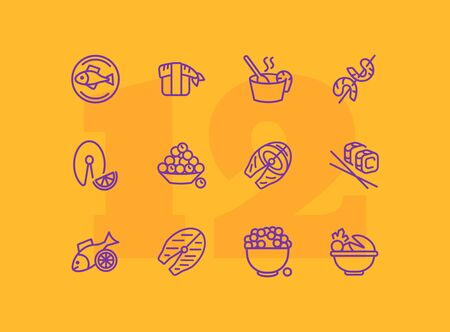 Seafood line icon set. Salmon steak, caviar, sushi. Food concept. Can be used for topics like restaurant menu, Japanese cuisine, meal