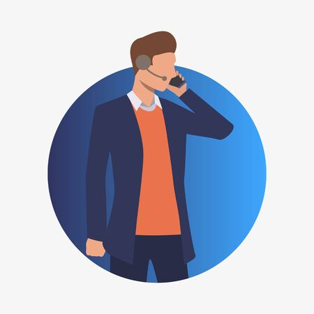 Call center operator talking on phone. Customer support phone worker with headset, 24 and 7 hotline, male. Customer support concept. Vector illustration for presentation slide, poster, new projects
