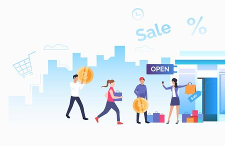 Store owner inviting customers. Male and female cartoon characters running to opened store. Vector illustration for commercial, promo, small business