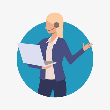 Call center operator holding laptop. Customer support phone worker with headset, 24 7 hotline, female. Customer support concept. Vector illustration for presentation slide, poster, new projects