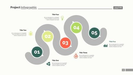 Five points process chart slide template. Business data. Step, infochart, design. Creative concept for infographic, presentation, report. Can be used for topics like management, recruitment, research. Standard-Bild - 128822180