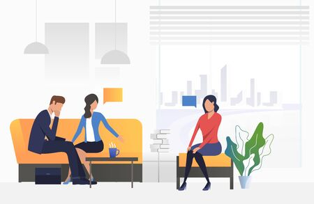 Psychologist talking to husband and wife in office vector. Counselor, mental help service, relationship problem. Family therapy. Can be used for webpages, slides and leaflets
