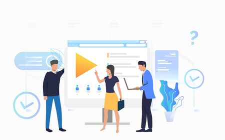 Businessmen and businesswoman talking at desktop vector illustration. Online training, distance learning, e-learning. Online courses concept. Can be used for landing pages, presentations, layouts Standard-Bild - 128822590
