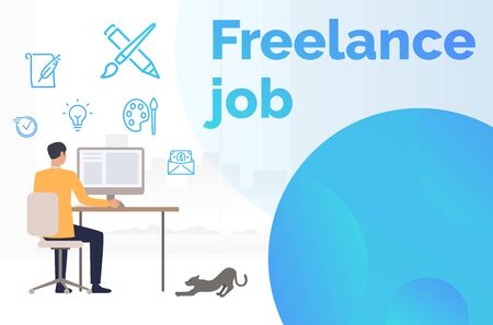 Male freelancer working at computer landing template. Home, ideas, cat. Remote job concept. Vector illustration can be used for presentation slide, poster, new project Standard-Bild - 128822733