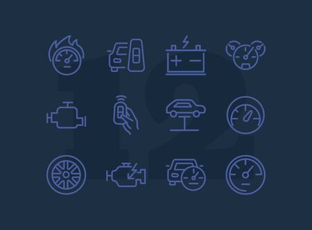 Auto service icon. Set of line icon on white background. Speedometer, engine, wheel. Car mechanics concept. Vector illustration can be used for topics like transportation, service, cars