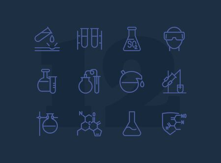 Chemical research line icon set. Chemist, beaker, experiment. Science concept. Can be used for topics like biology, lab tests, chemistry