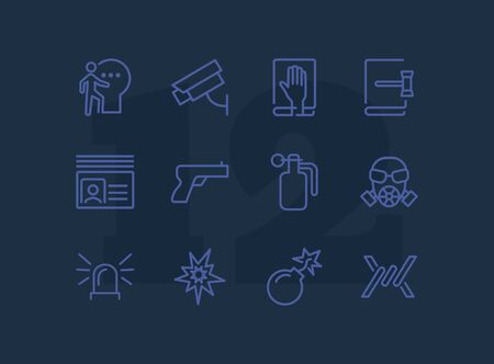 Criminal activity line icon set. Set of line icons on white background. Law concept. Handgun, camera, identification. Vector illustration can be used for topics like justice, law, civil regulation  イラスト・ベクター素材
