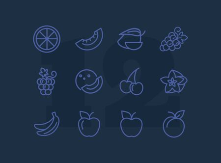Fruits line icons. Set of line icons on white background. Grapes, cherry, apple. Healthy food concept. Vector illustration can be used for topics like grocery, shop, market Imagens - 128943288