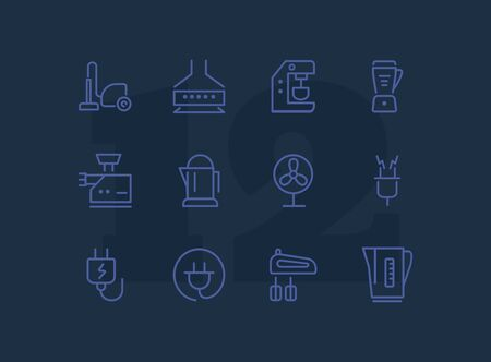 Home appliances line icon set. Vacuum cleaner, stove hood, kettle. Housekeeping concept. Can be used for topics like kitchen, cooking, cleaning Stock Vector - 128943326
