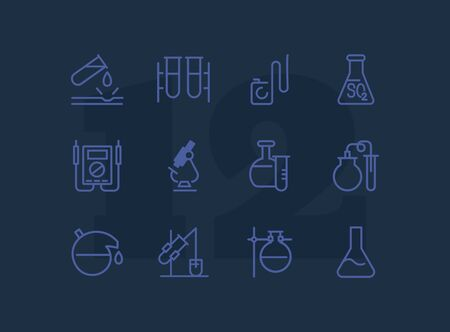 Lab equipment line icon set. Laboratory, beaker, microscope. Chemistry concept. Can be used for topics like science, research, medicine