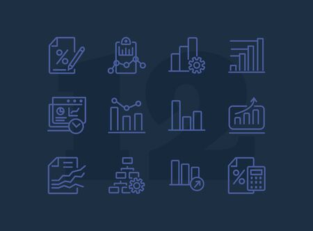 Business graph line icon. Set of line icon on white background. Analytics, profit counting, presentation. Marketing concept. Vector illustration can be used for topics like business, finance, banking