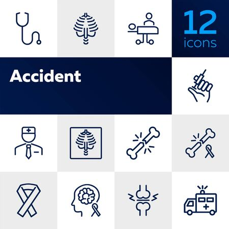 Accident line icon set. Trauma, first aid station, ambulance. Medicine concept. Can be used for topics like emergency, hospital, medical help