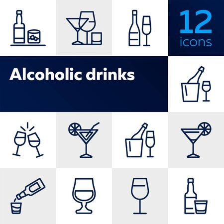 Alcoholic drinks icon. Set of line icons on white background. Martini, toast, whiskey. Beverage concept. Vector illustration can be used for topics like wine menu, bar, drinks Stock Illustratie