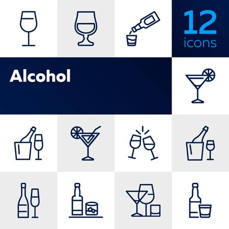 Alcoholic drinks line icon set. Cocktail, wine, strong drink. Alcohol concept. Can be used for topics like restaurant, bar, celebration, party