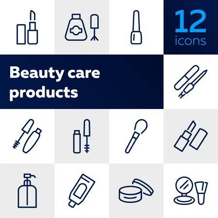 Jeu d'icônes de ligne de produits de soins de beauté. Rouge à lèvres, vernis à ongles, crème, mascara. Notion de cosmétologie. Peut être utilisé pour des sujets comme le maquillage, l'esthéticienne, les cosmétiques