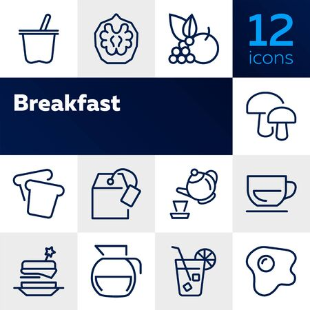 Breakfast line icon set. Set of line icons on white background. Food concept. Coffee, tea, bread. Vector illustration can be used for topics like food, cafe, breakfast Standard-Bild - 128943445