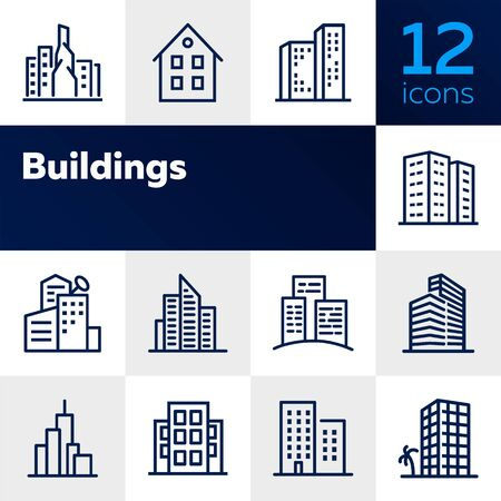 Buildings line icon set. Office, house, block of flats. City concept. Can be used for topics like residential accommodation, real estate, property