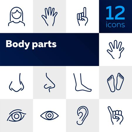 Body parts line icon set. Hand, nose, foot. Body care concept. Can be used for topics like gesturing, healthcare, anatomy Illustration