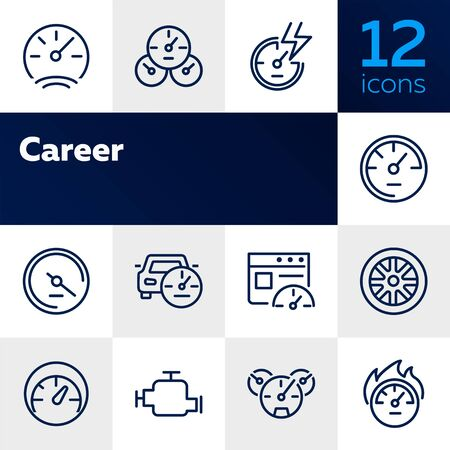 Car service line icon set. Set of line icons on white background. Motor, wheel, speedometer. Automobile concept. Vector illustration can be used for topics like auto service, car details, speed Çizim