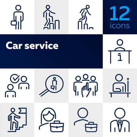 Career line icon set. Set of line icons on white background. First place, candidate, team. Career concept. Vector illustration can be used for topics like job, hiring process 일러스트
