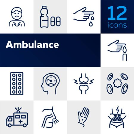 Ambulance line icon set. Set of line icons on white background. Medicine concept. Pain, virus, nasal cold. Vector illustration can be used for topics like medicine, illness, healthcare