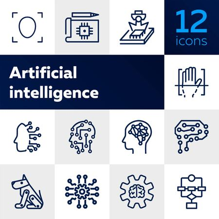Artificial intelligence line icon set. Brain, gear, setting. Science concept. Vector illustration can be used for topics like shopping, wardrobe, winter Ilustração