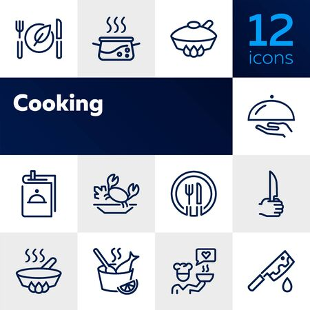 Cooking line icon set. Set of line icons on white background. Food concept. Plate, knife, chicken. Vector illustration can be used for topics like kitchen, food, cooking Çizim