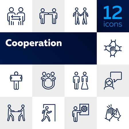 Cooperation line icon set. People, team, partner, family. People connection concept. Can be used for topics like relationship, communication, teamwork Banque d'images - 128943762