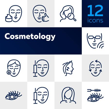 Cosmetology line icon set. face injection, solarium, mascara. Beauty concept. Can be used for topics like dermatology, skin care, aesthetics Illusztráció