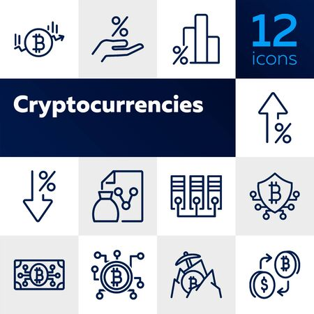 Cryptocurrencies line icon set. Set of line icons on white background. Investment concept. Bitcoin, mining, blockchain. Vector illustration can be used for topics like economy, finance, mining