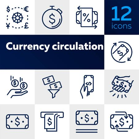 Currency circulation line icon set. Set of line icons on white background. Money concept. Dollar, banknote, bill. Vector illustration can be used for topics like economy, modern, payment