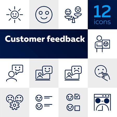 Customer feedback line icon set. Smiley, like, dislike. Ecommerce concept. Can be used for topics like retail, store, approval Stock Illustratie
