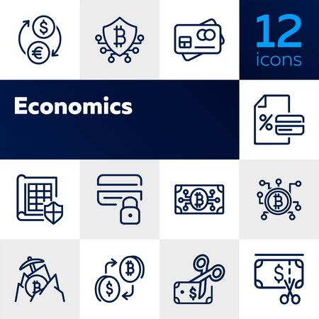 Economics line icon set. Currency, bitcoin, cash, credit card. Business concept. Can be used for topics like finance, conversion, banking Illustration