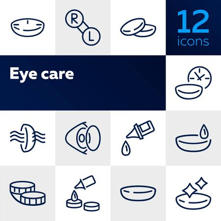Eye care line icon set. Lens, container, solution. Vision concept. Can be used for topics like sight, ophthalmology, medicine 일러스트