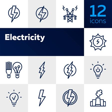 Electricity line icon. Set of line icons on white background. Energy concept. High voltage, lightning, lamp. Vector illustration can be used for topics like engineering, power Vectores