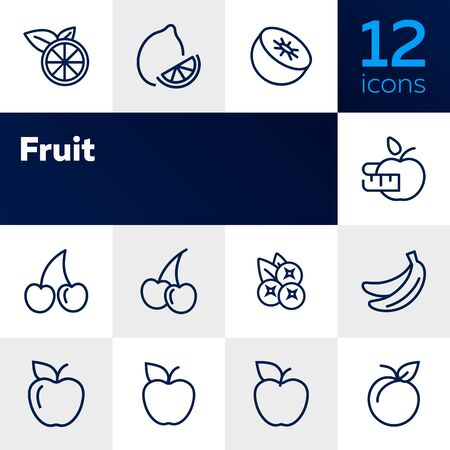 Fruit line icon set. Lemon, apple, cherry. Food concept. Can be used for topics like vegan diet, organic nutrition, health care Ilustração