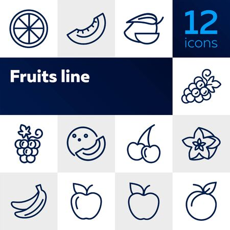 Fruits line icons. Set of line icons on white background. Grapes, cherry, apple. Healthy food concept. Vector illustration can be used for topics like grocery, shop, market Imagens - 128944053