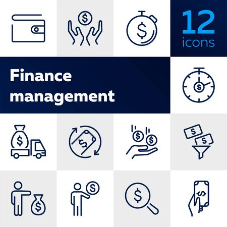 Finance management line icon set. Purse, earning, loan. Money concept. Can be used for topics like business, investment, saving, charity Stockfoto - 128944150