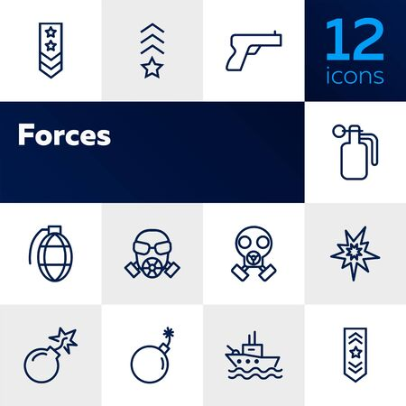 Forces line icon set. Shoulder strap, gun, bomb, ship. Military concept. Can be used for topics like army, war, defense, national security Vectores