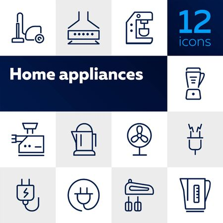 Home appliances line icon set. Vacuum cleaner, stove hood, kettle. Housekeeping concept. Can be used for topics like kitchen, cooking, cleaning Stock Vector - 128944284