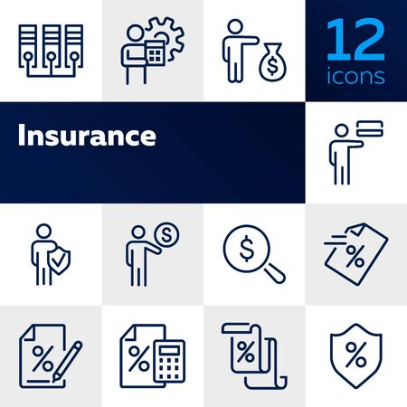 Insurance line icon set. Businessman, investor, paper, loan agreement. Business concept. Can be used for topics like finance, protection, investment, saving, deposit Banco de Imagens - 128944351