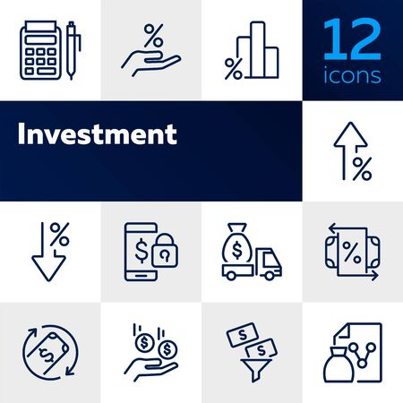 Investment line icon set. Encashment car, income, graph. Money concept. Can be used for topics like finance management, profit, banking