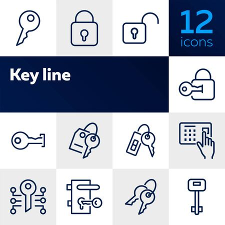 Key line icons. Set of line icons on white background. Safety concept, Key, locker, entry phone. Vector illustration can be used for house, house security, computer programs Stok Fotoğraf - 128872055