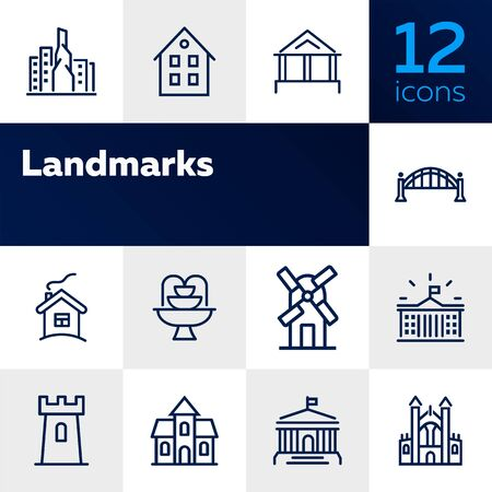 Landmarks line icon set. House, bridge, mill, fountain. Architecture concept. Can be used for topics like suburb, country, home