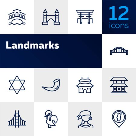 Landmarks line icon set. Venice, tower bridge, Japan. Travel concept. Can be used for topics like tourism, vacation, architecture, adventure Illustration