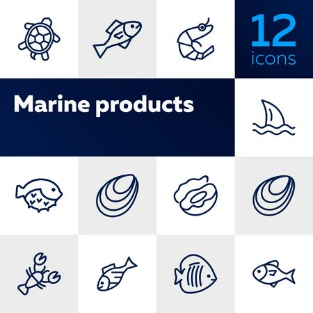 Marine products icon set. Seafood concept. Vector illustration can be used for topics like seafood, cuisine, cooking