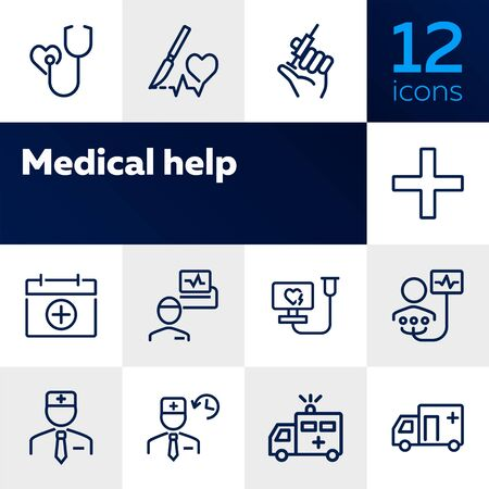 Medical help line icon set. Stethoscope, injection, doctor, ambulance. Medicine concept. Can be used for topics like hospital, first aid, emergency Stock Illustratie