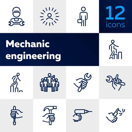 Mechanic engineering icons. Set of line icons on white background. Worker, equipment, drill. Job concept. Vector illustration can be used for topics like working, mechanic, industry Stock Illustratie