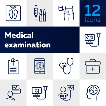 Medical examination line icon set. Screening, heart test, weight. Healthcare concept. Can be used for topics like hospital, medical consulting, disease prevention Illustration