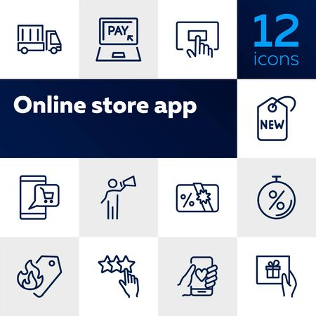 Online store app icon set. Product delivery concept. Vector illustration can be used for topics like shopping, buying, online store